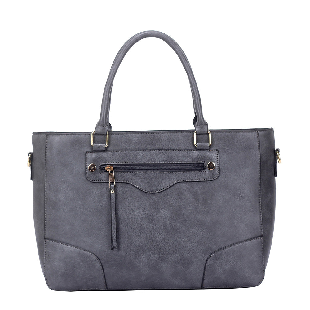 Zip Front Handbag -  Grey