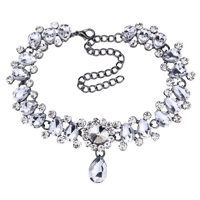 Drop Crystal Beads Choker Necklace