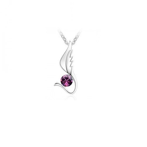 Pendant Necklace with Purple Stone