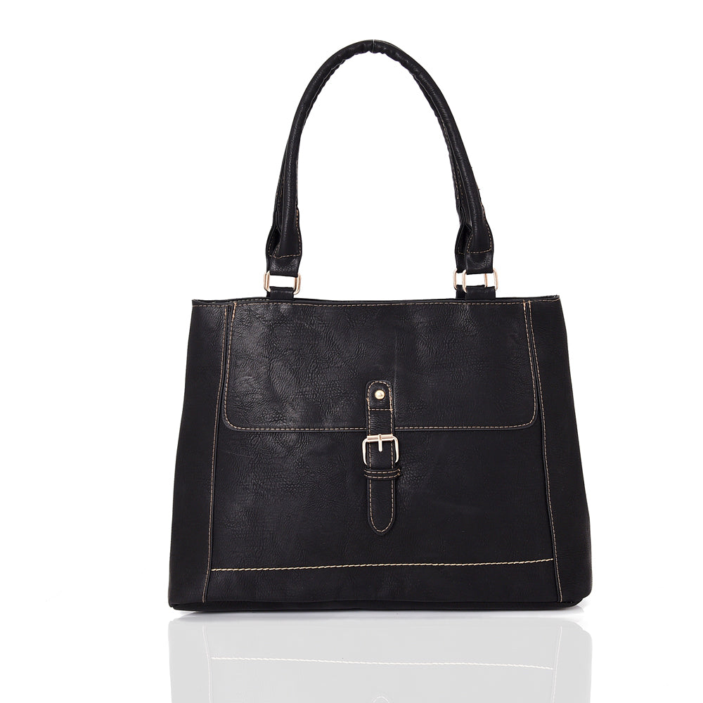 Buckle Shoulder Bag - BLACK