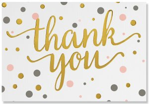 Thank You Card Set - Pink & Gold Dots