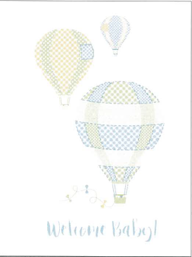 Large Card : Welcome Baby - Hot Air Balloons