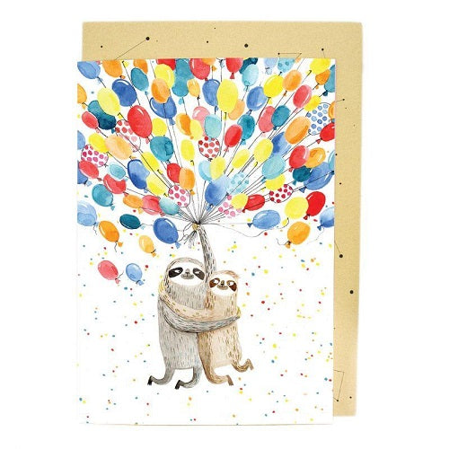 Large Card: Sloth Balloons
