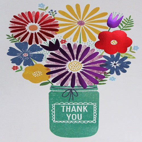 Large Card - Thank you - Jar of Flowers