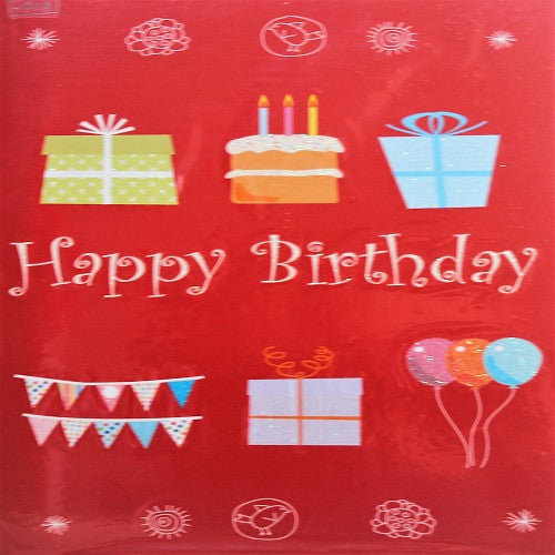Large Card: Happy Birthday Red