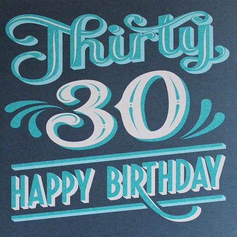 Large Card - Thirty 30 Happy Birthday