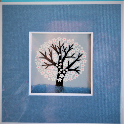 Glitter Card - White Blossom Tree