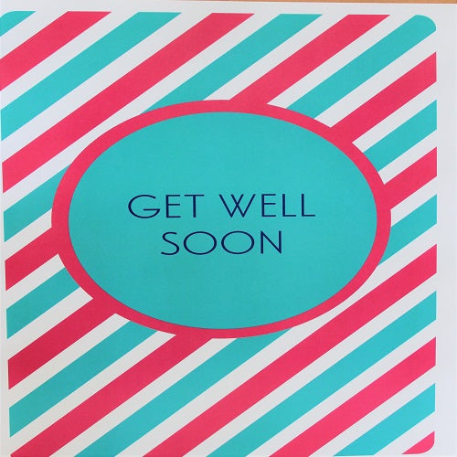 Large Card : Get Well Soon - Candy Stripe