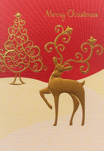 Merry Christmas - Gold Deer