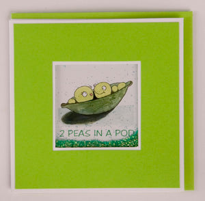 Glitter Card - 2 Peas in a Pod