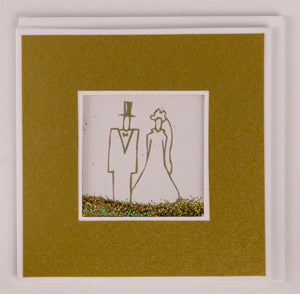 Glitter Card - Wedding Couple - Gold