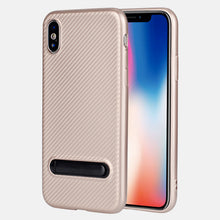 Carbon fiber pattern TPU phone cover for iPhone X stand case, slim fit for iPhone X case