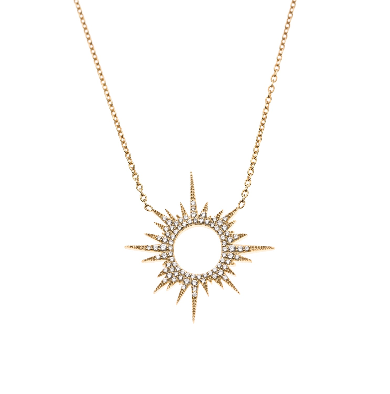 gold mini of necklace in white sunburst and harlow house