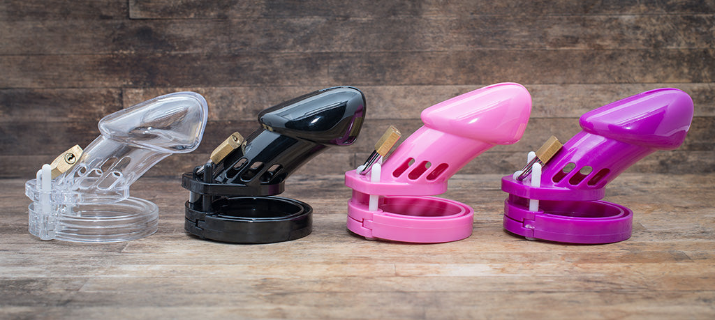 Chastity cages in 4 different colours