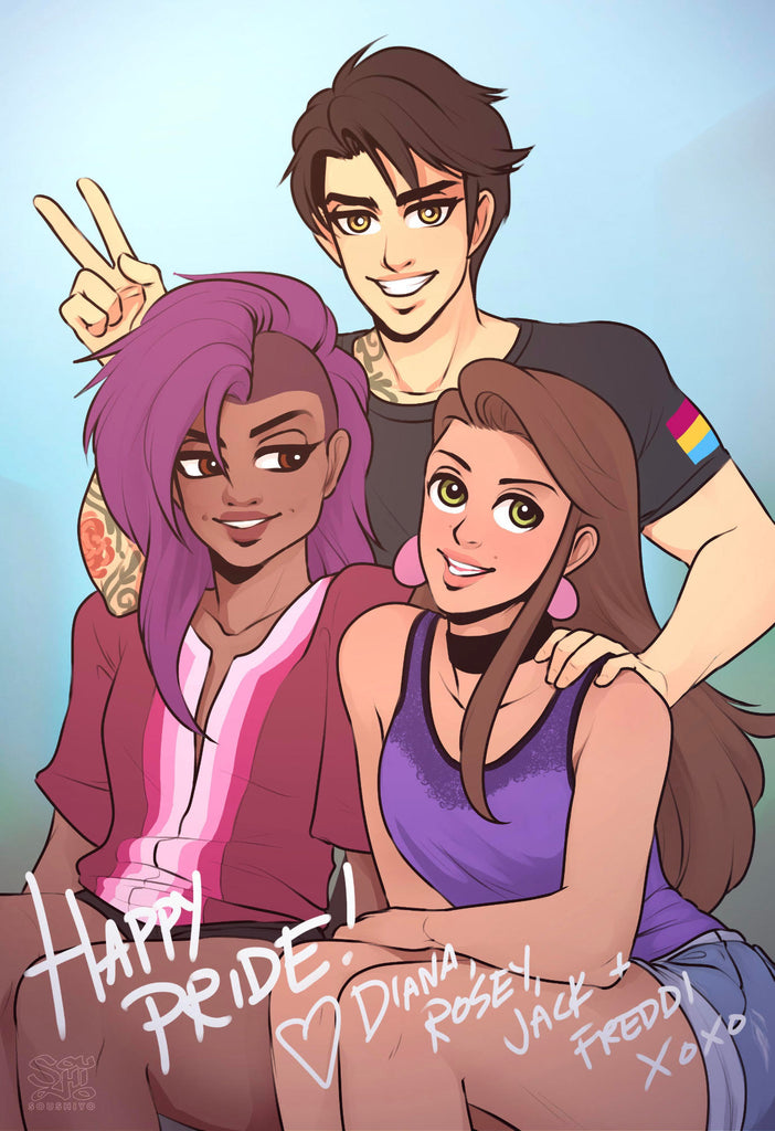 "An illustrated image of 3 people, with ""Happy Pride"" written on it. The women in the foreground are dressed in lesbian pride and bisexual pride colours. The male in the background is wearing a shirt with the pansexual flag on the sleeve. They are smiling at an imaginary camera"