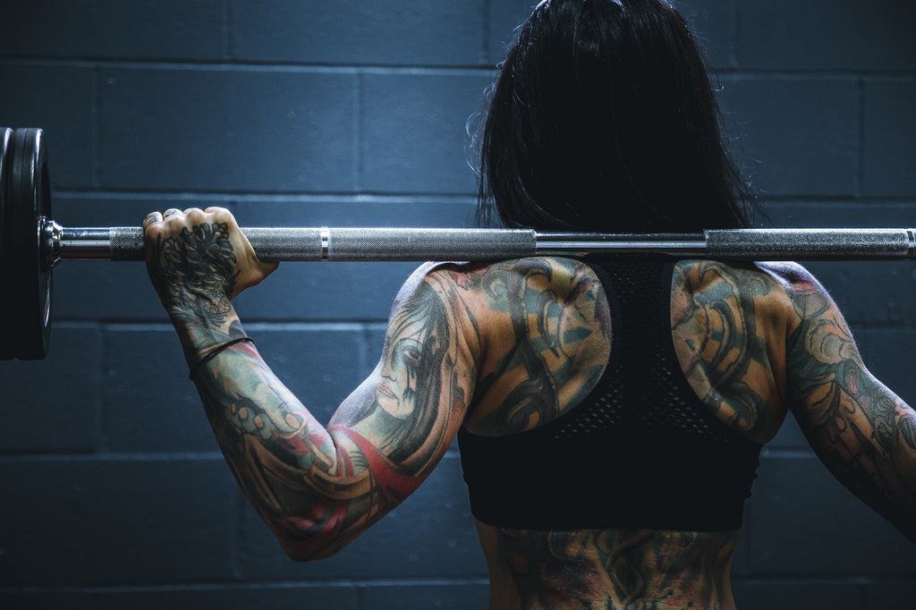 Tattooed female weighlifter