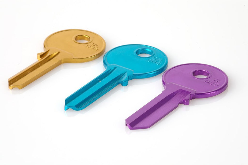 Keys in 3 different colours