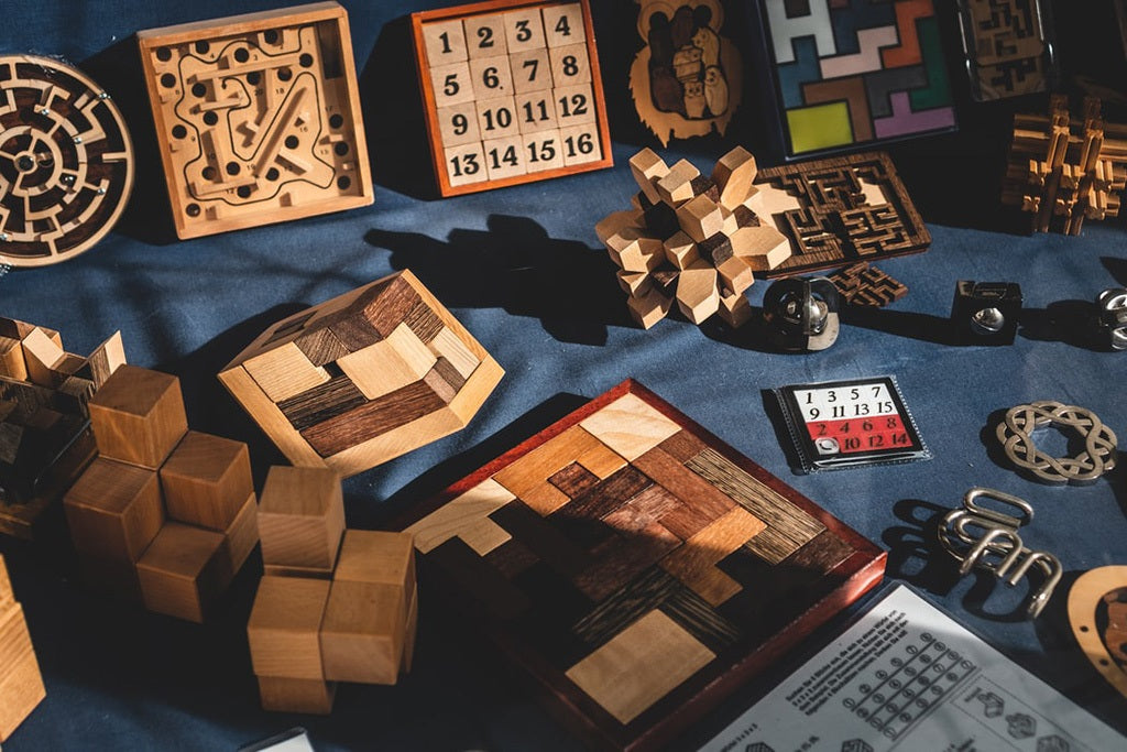A selection of wooden puzzle games