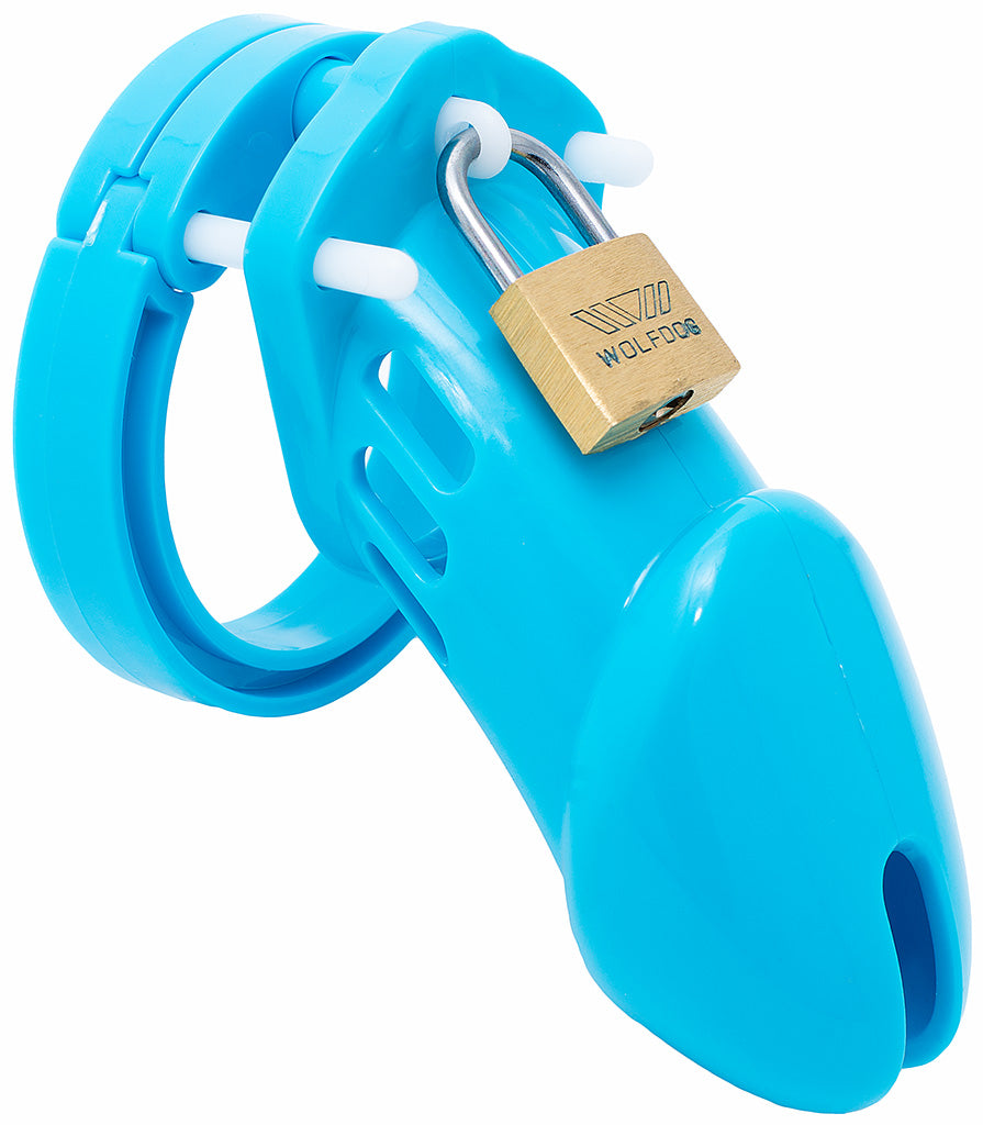 Blue HoD600 male chastity device