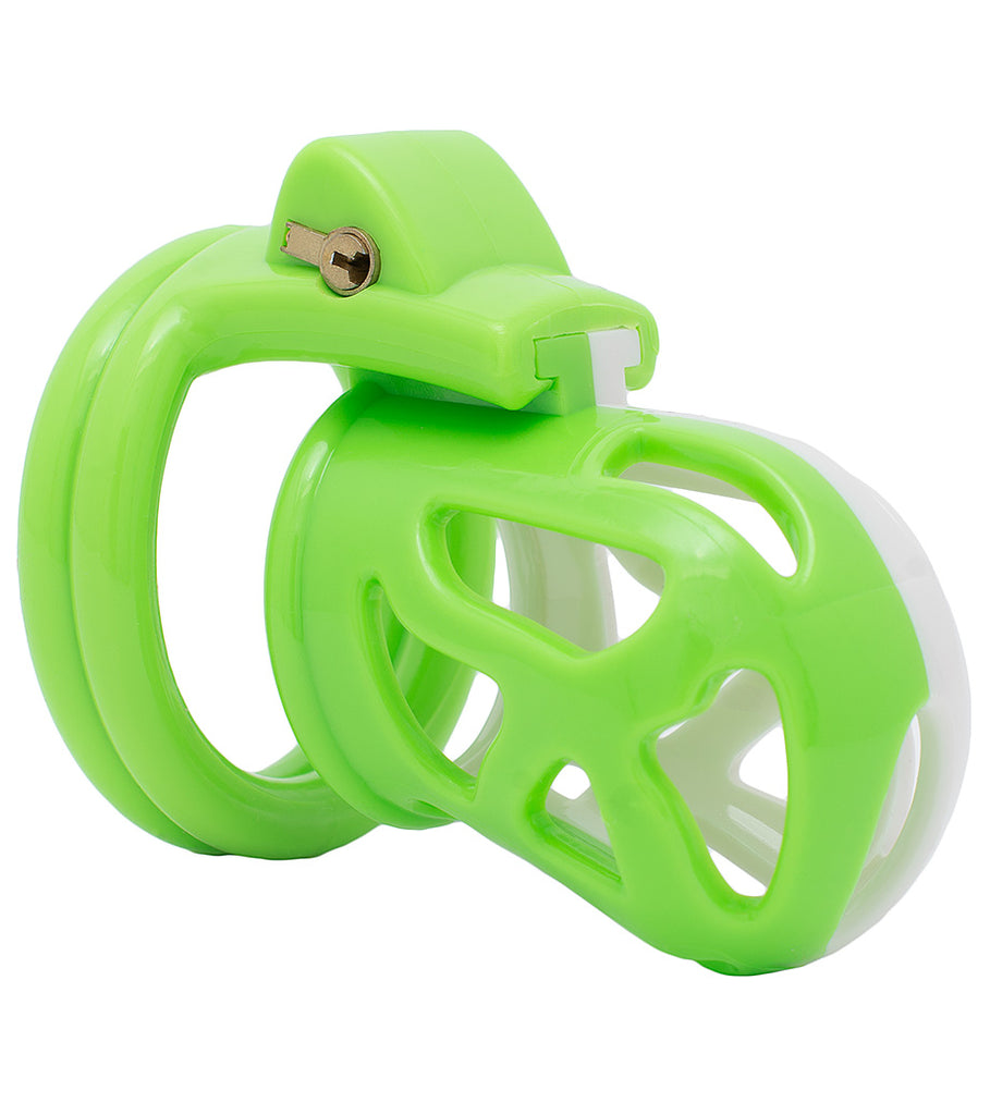 Green and white HoD228 male chastity device