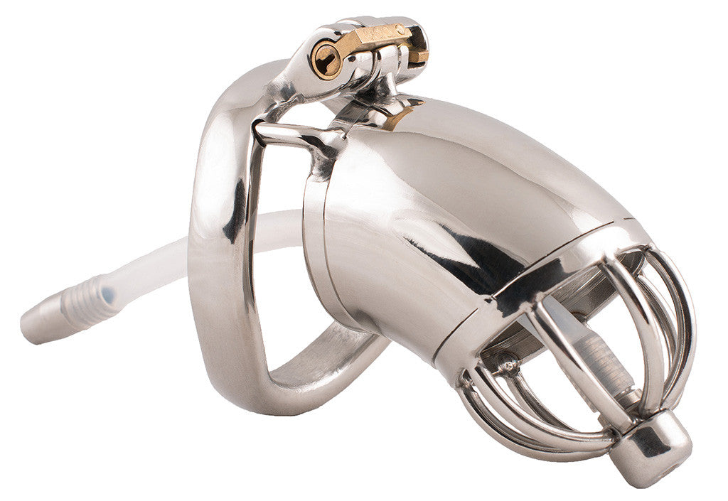 Steel S89 male chastity device with urethral tube