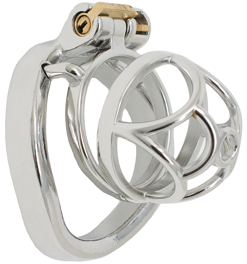 JTS S201 medium chastity device with a curved ring