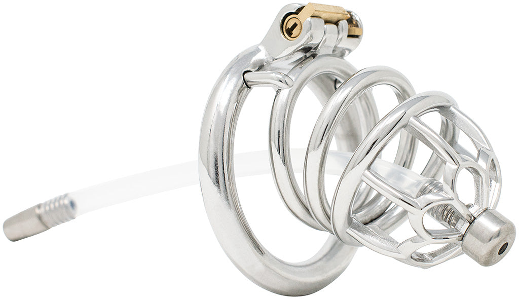 JTS S206 large chastity device with a urethral tube and circular ring