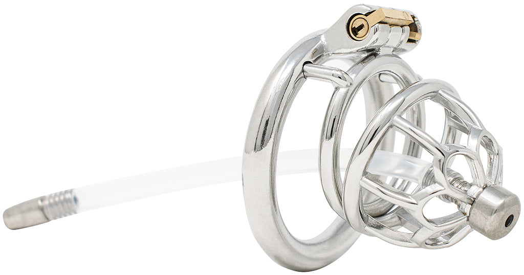 JTS S206 medium chastity device with a urethral tube and circular ring