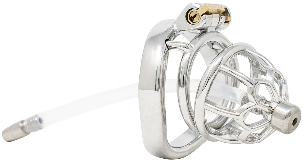 JTS S206 medium chastity device with a urethral tube and curved ring