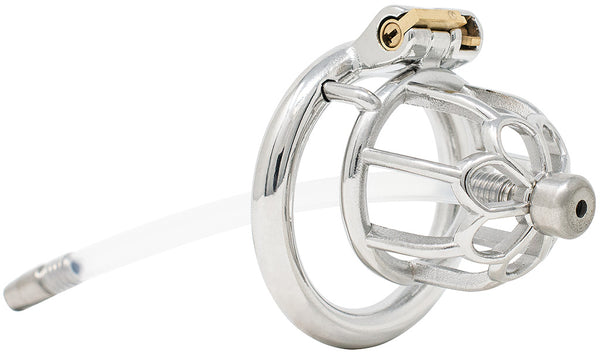JTS S206 small chastity device with a urethral tube and circular ring