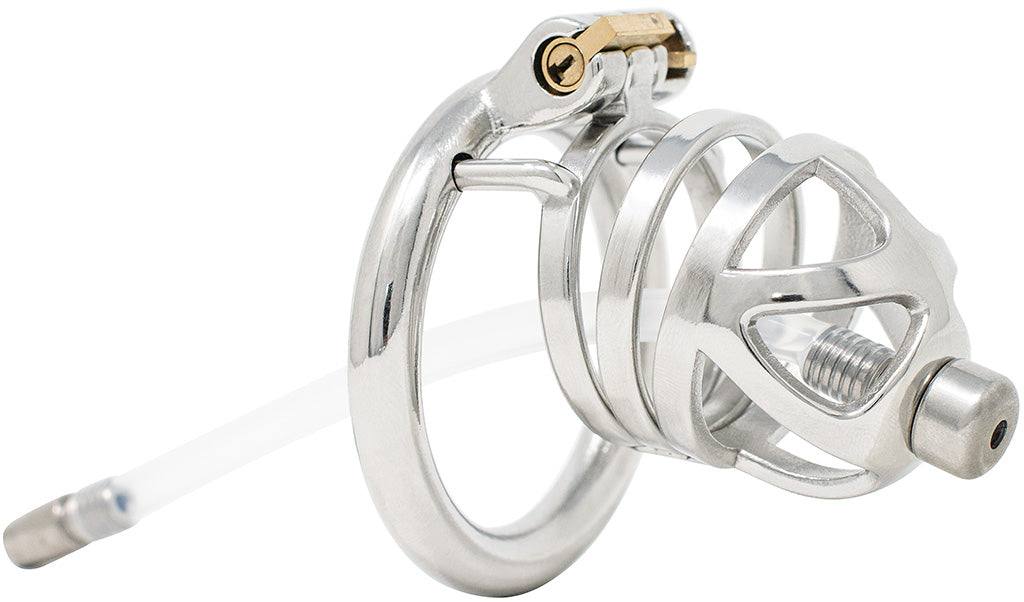 JTS S210 large chastity device with a urethral tube and circular ring