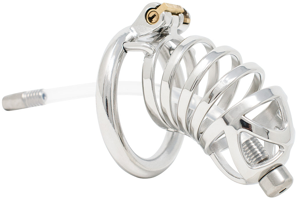 JTS S210 XXL chastity device with a urethral tube and circular ring