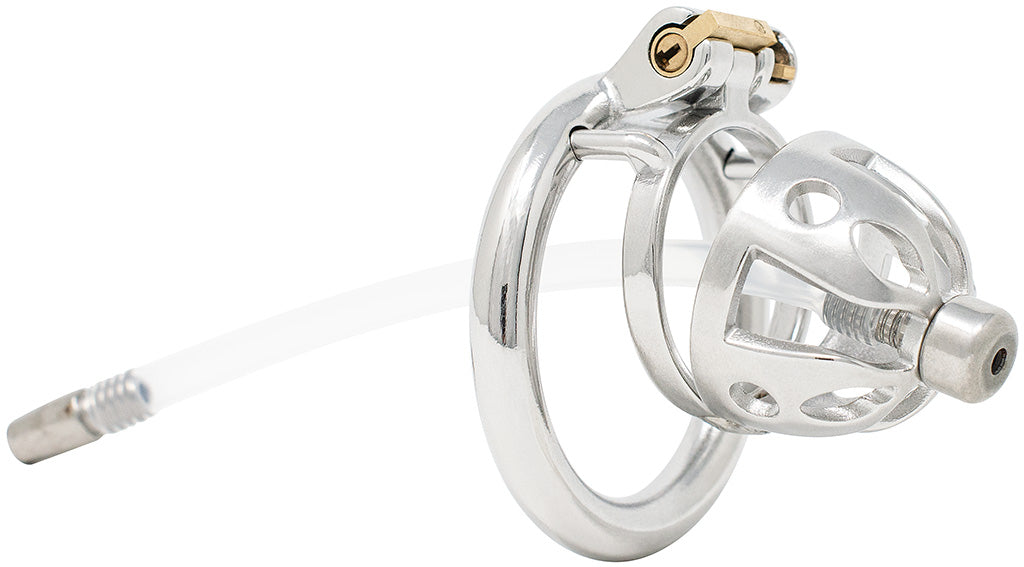 JTS S214 medium chastity device with a urethral tube and circular ring