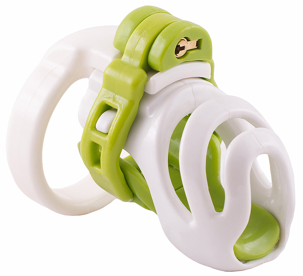 Small white and green PC1 male chastity device