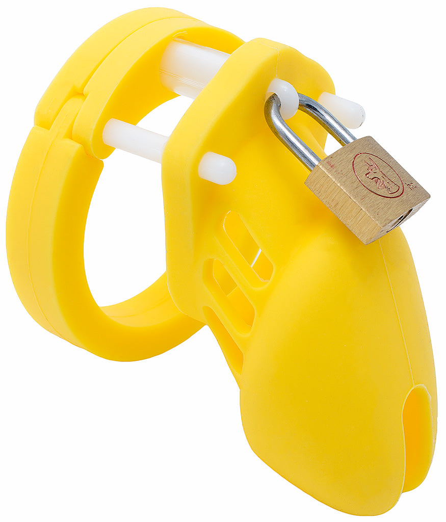 Yellow small HoD600S silicone male chastity device