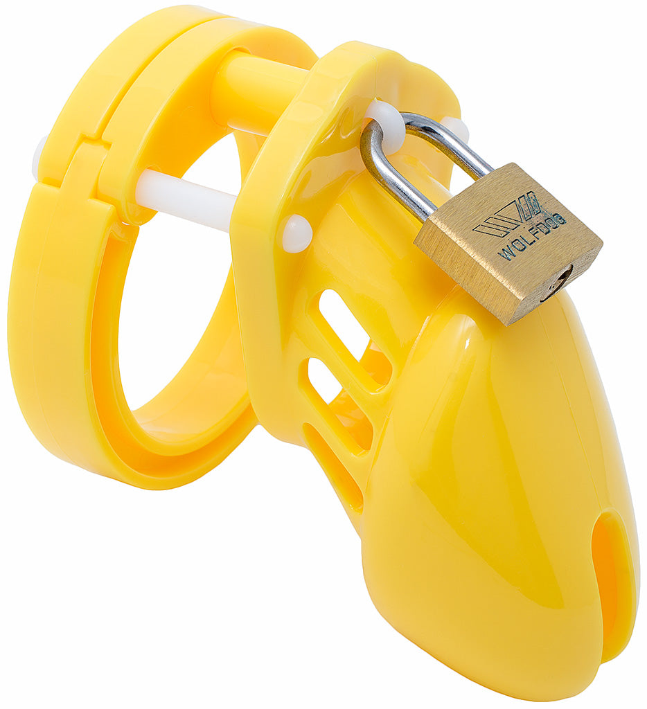 Yellow small HoD600 male chastity device