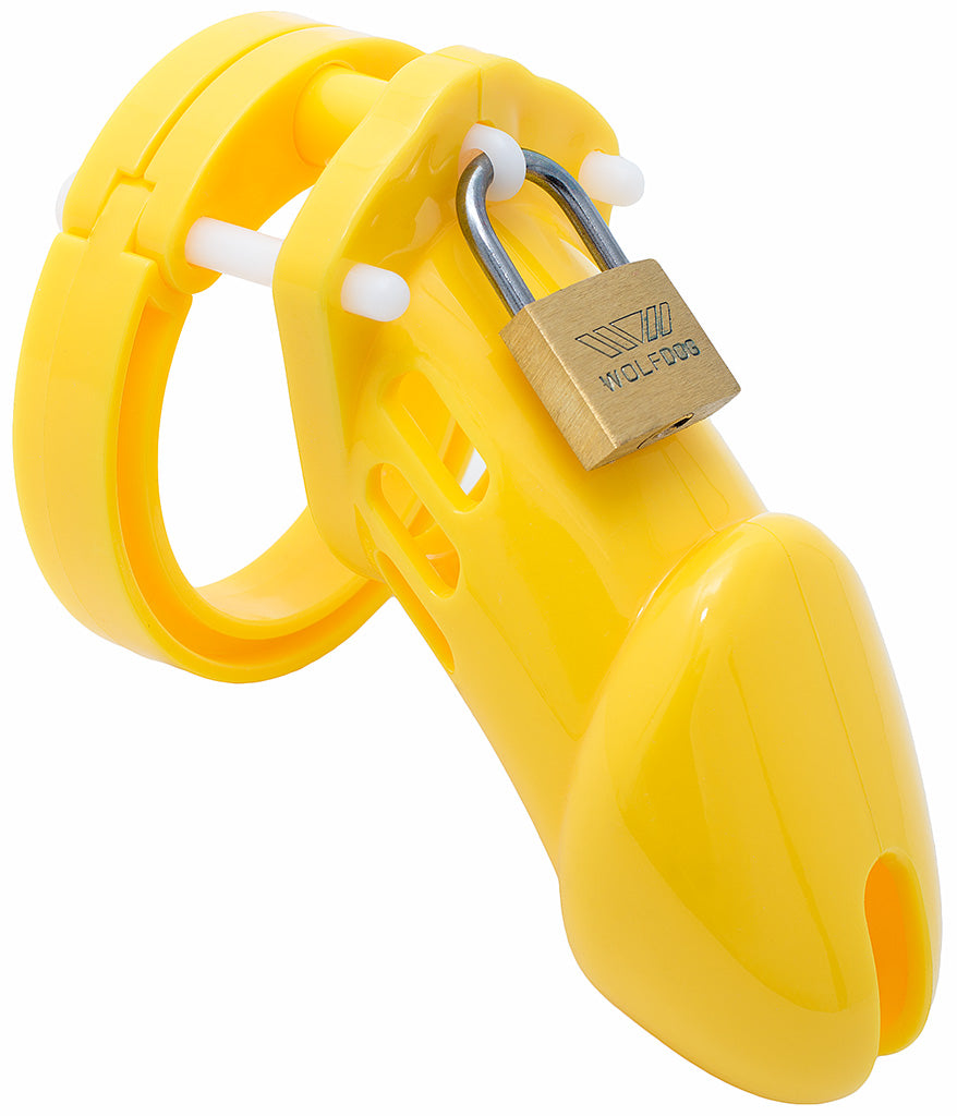 Yellow HoD600 male chastity device