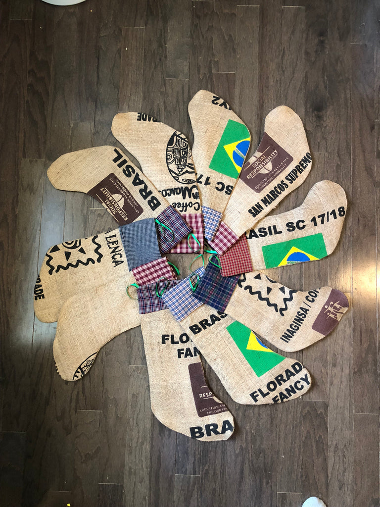Burlap Christmas Stockings - WYO Buckin' Beans