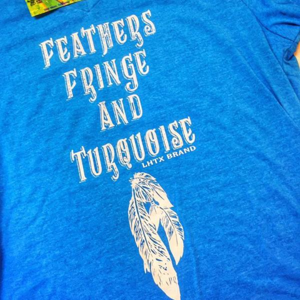 FEATHERS FRINGE AND TURQUOISE - FPONCHO