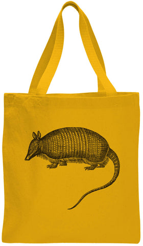 Austin Ink Apparel Long Tailed Armadillo Cotton Canvas Tote Bag