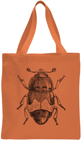 Austin Ink Apparel Beetle Illustration Cotton Canvas Tote Bag