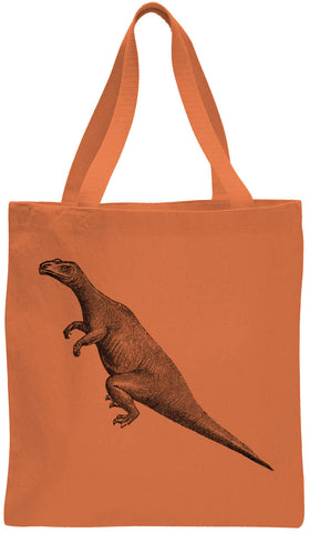 Austin Ink Apparel Long Tailed Dinosaur Cotton Canvas Tote Bag