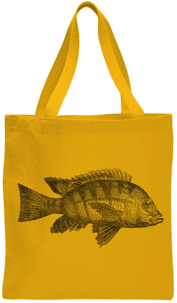 Austin Ink Apparel Atlantic Fish Cotton Canvas Tote Bag