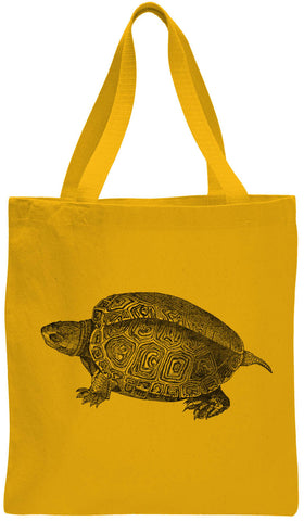 Austin Ink Apparel Turtle Illustration Cotton Canvas Tote Bag