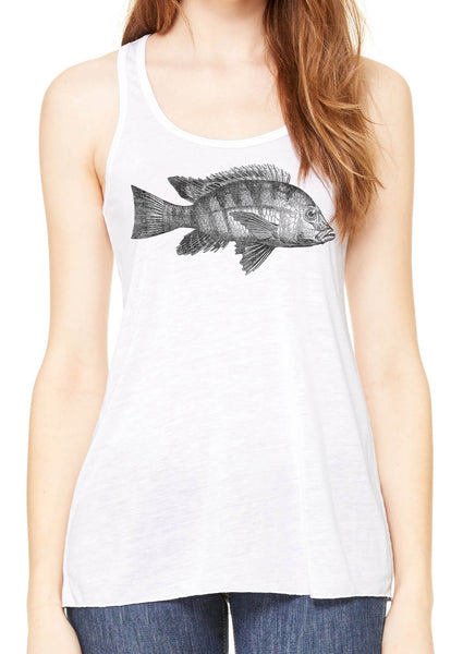 Austin Ink Apparel Atlantic Fish Womens Flowy Racerback Tank