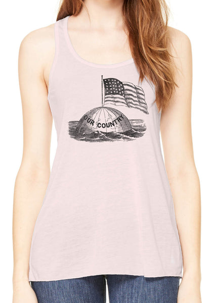 Austin Ink Apparel America on Top of the World Womens Flowy Racerback Tank