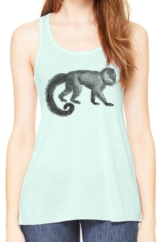 Austin Ink Apparel Woolly Tailed Monkey Womens Flowy Racerback Tank