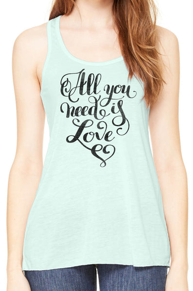 Austin Ink Apparel All You Need is Love Womens Flowy Racerback Tank