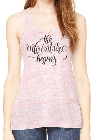 Austin Ink Apparel The Adventure Begins Quote Womens Flowy Racerback Tank