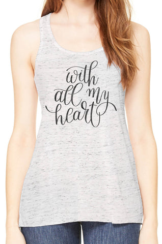 Austin Ink Apparel With All My Heart Womens Flowy Racerback Tank